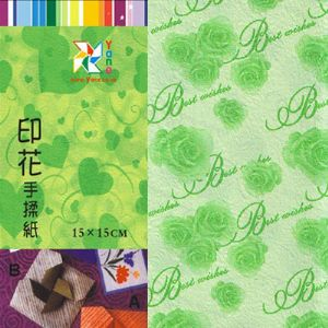 Patterns Shoyu Paper - green roses, 6 inch (15 cm) square, 15 sheets, (YHZ054)